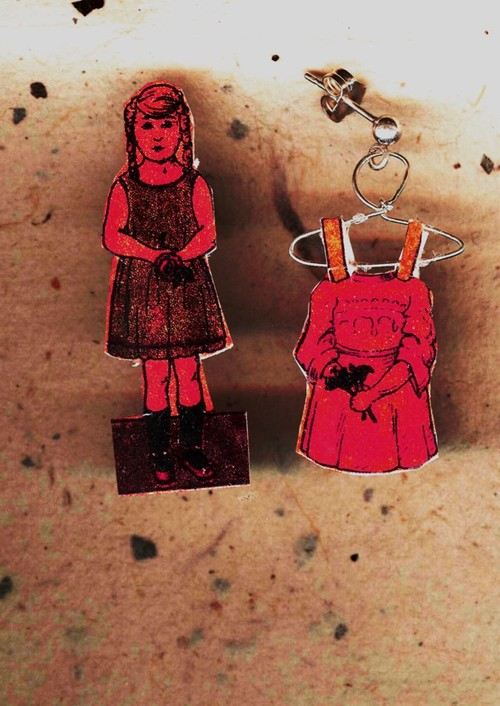 Paper doll earrings
